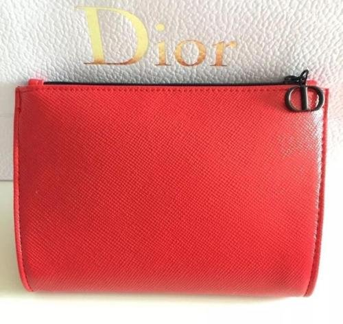 Dior Beaute Counter Gift - Red Faux Leather Cosmetics Makeup Toiletry Case Pouch Bag - (see (Dior Pouch)