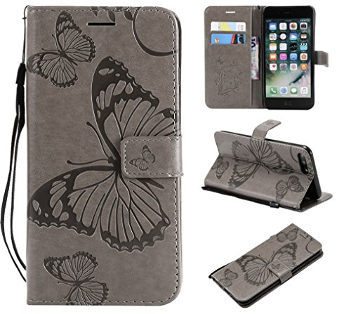 Price comparison product image iPhone 8 Plus Wallet Case, iPhone 8 Plus Case with Card Holder, iPhone 7 Plus Leather Flip PU Phone Case Cover with Stand & Credit Card Holder Slots for Apple iPhone 7 Plus / 8 Plus, Butterfly Gray