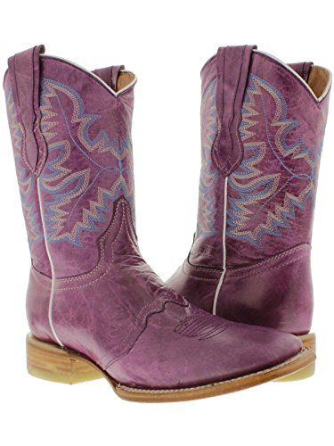 Cowboy Professional - Women's Purple Mid Calf Leather Cowboy Western Boots Square Toe 9.5 Medium -