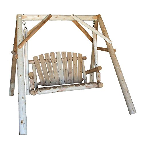 Log Slat (HOLIDAY SPECIAL! Yard Swing with A-Frame 4 ft. Featuring Contoured Seat Slats and Northern White Cedar Log, Silvery Grey Finish, Gives your Patio a Rustic Beauty)