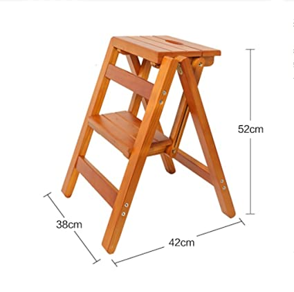 Amazon.com: YXWyz Folding Tables Wooden step stool folding chair ...