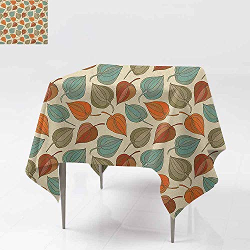 DUCKIL Decorative Textured Fabric Tablecloth Onion Flower Leaves Mother Nature in Autumn Art Nouveau Winter Cherry Rural Pattern Table Decoration W36 xL36 Multicolor