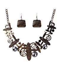 Qiyun Unique Art Tribal Abstract Pattern Bib Choker Necklace Earrings Set Art Abstrait Mode le Collier