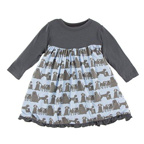 Kickee Pants Little Girls Print Classic Long Sleeve Swing Dress, London Dogs, 4T