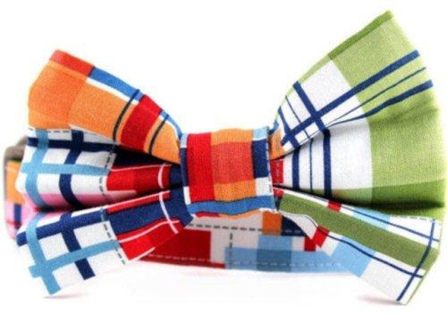Collar Bow Tie Set Madras Plaid Medium
