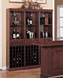 Contemporary Cherry Finish Wood Wine Rack Wall Unit Cabinet w/Drawer For Sale