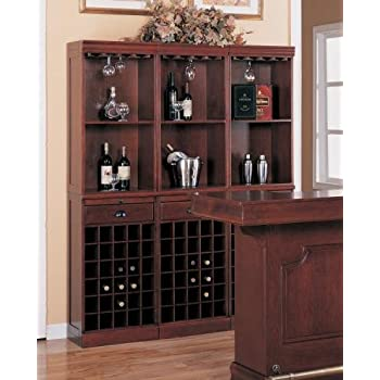 This Item Contemporary Cherry Finish Wood Wine Rack Wall Unit Cabinet  W/Drawer Part 98