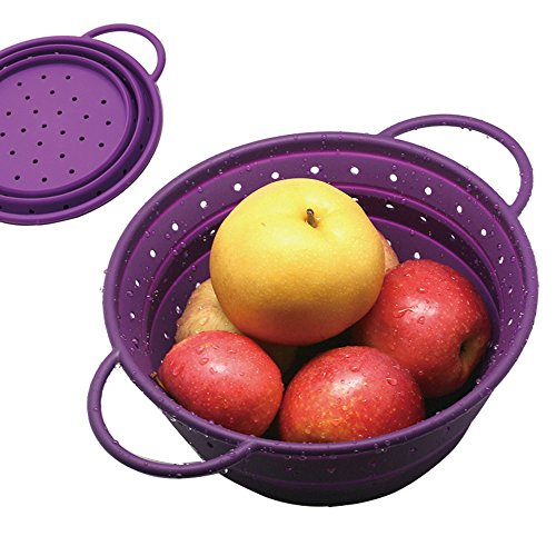 Safe Silicone Collapsible Colander/Strainer/Fruit Basket/Portable Storage for Kitchen/Outdoor/Travel-8.5