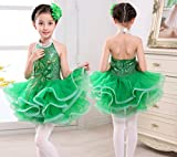 Children's Latin dance skirt costume Girls Ballet clothing Stage show performance clothing Rose Green Yellow Red, 130cm, green