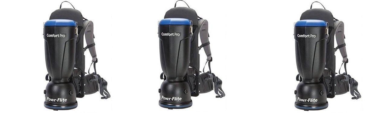 Powr-Flite BP6P Comfort Pro Premium Backpack Vacuum, 6 quart Capacity (3-Pack)