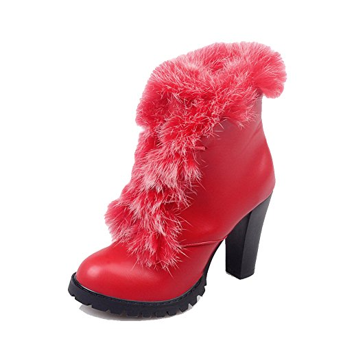 AgooLar Women's Soft Material Round Closed Toe Solid Low-top High Heels Boots Red DyqxZO