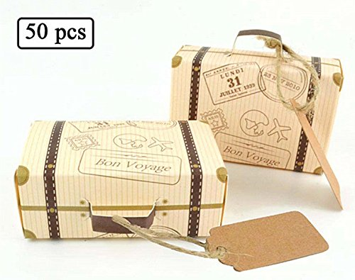 "50pcs ""Travel Themed"" Suitcase Favor Boxes + 50pcs Tags, Vintage Kraft Favor Box Candy Gift bag for Travel Theme Party Wedding Birthday Bridal Shower (Brown Wedding Favor Boxes)"