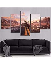 ZYUN Lona Pintura HD Wall Mural Modular Carteles 5 Impresiones De Panel Mural Moto De Carretera Imágenes Decoración del Hogar,A,30×40x2+30×60x2+30x80×1