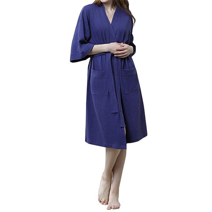 Kimono Batas Mujer Verano Algodon Sexy & Elegante con Cinturon Suave Comodo y Agradable Armada M