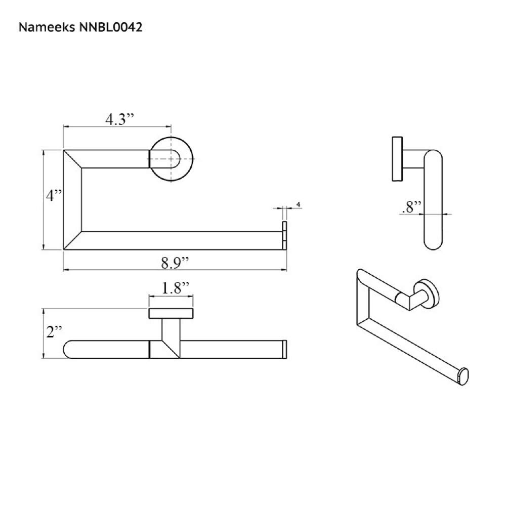 Nameeks NNBL0042 Grand Hotel Polished Towel Ring, Chrome