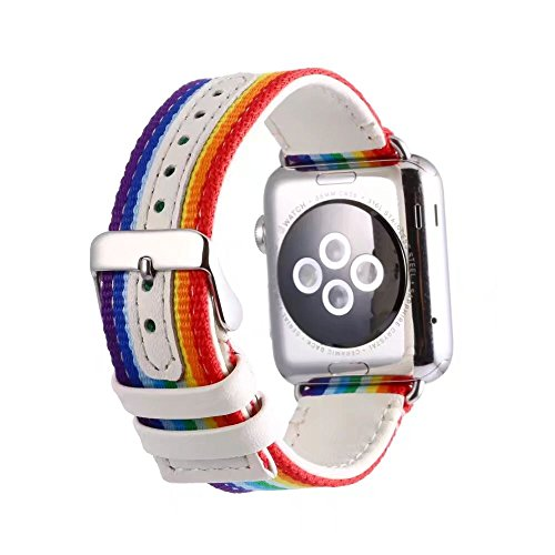 42mm Apple Watch Band, Wcysin Rainbow Nylon + Leather Two-in-one Soft Strap Case for Apple Watch/iwatch Series 1 Series 2 Series 3 Edition (42mm)