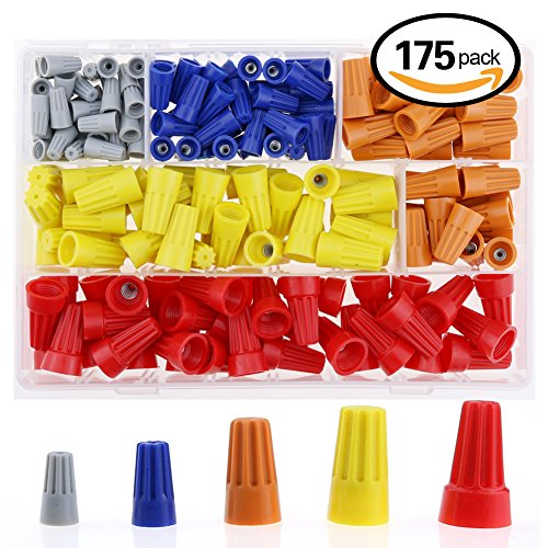 Hilitchi 175Pcs Electrical Wire Connection Screw Twist Connector Cap w/ Spring Insert Assortment Set