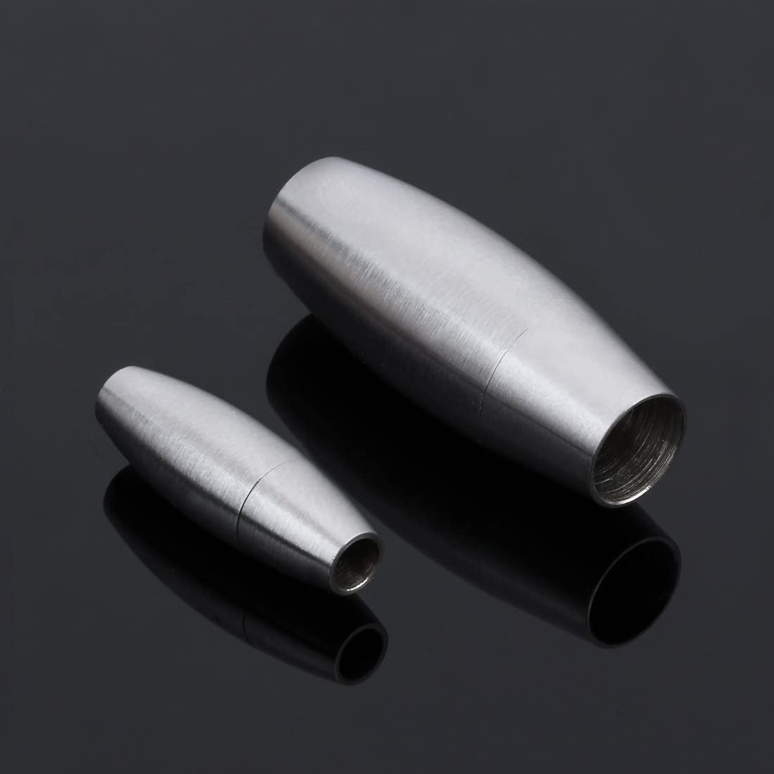Linsoir Beads Silver Stainless Steel Matt Magnetic Clasps for 3mm Leather Cord Tube Clasp 2 Sets