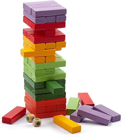 Tumbling Timbers Stacking Blocks Tower Family Game Kids Toddler Building Toy