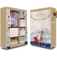 Portable Wardrobe Organizer Side Curtain Cover Bicycle Print Beige
