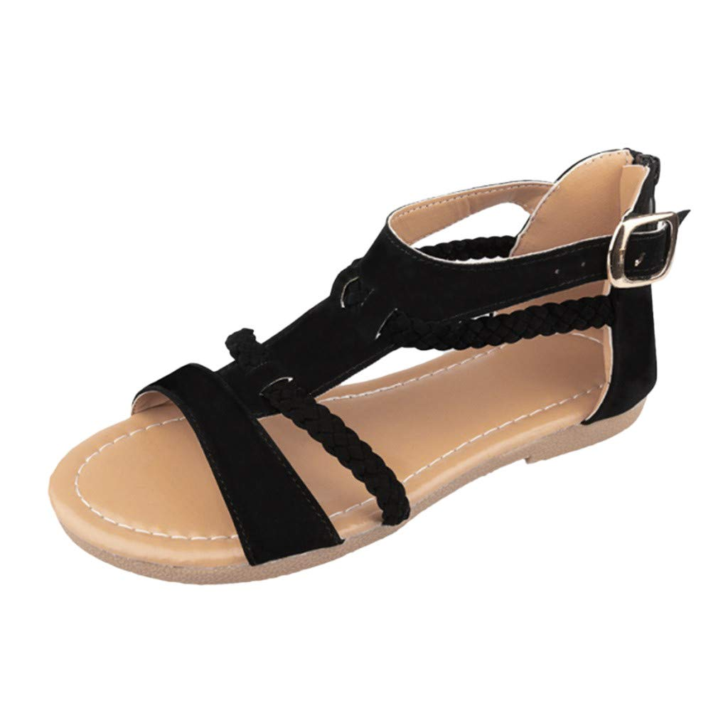 Tantisy ♣↭♣ Women's Suede Roman Sandals/Weave Sandals/Flat Shoes/Outdoor Beach Shoes/Adjustable Buckle Ankle Strap Black