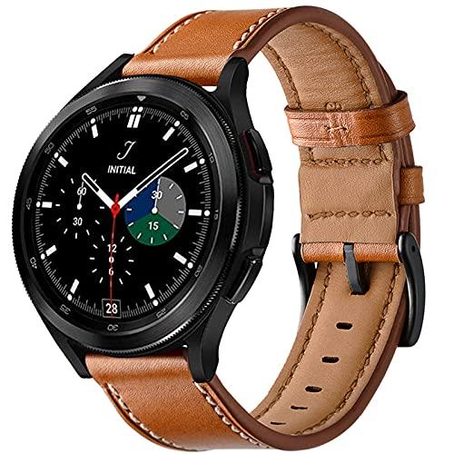 malla de cuero para Samsung Watch 4 Classic 42mm 46mm marron