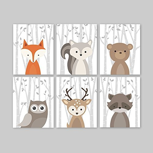 Woodland Animals Nursery Art Prints, Baby Animal Portraits - Fox Squirrel Bear Owl Deer Raccoon. Choose Size for Paper Print or Canvas, Set of 6 - Moose Portrait