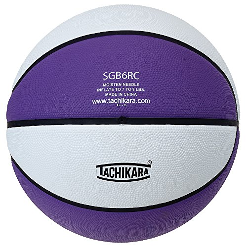 Kids Purple Basketball (Tachikara Intermediate Size, 2-Tone Rubber Basketball (Purple/White))