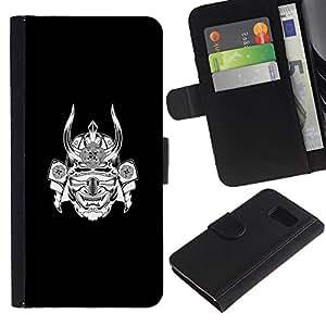 KLONGSHOP / Tirón de la caja Cartera de cuero con ranuras para tarjetas - Warrior Mask Black Ink - Samsung Galaxy S6 SM-G920