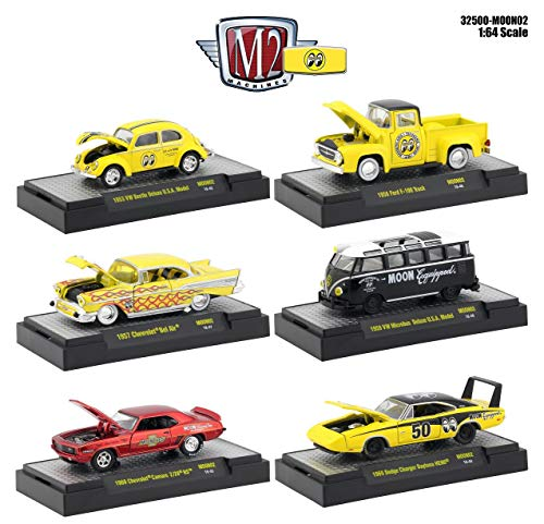 M2 Machines Auto Thentics Mooneyes 6 Piece Set in Display Cases 1/64 Diecast Model Cars 32500-MOON02