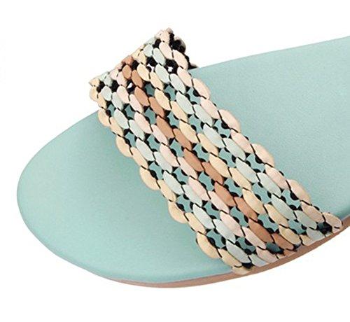 Aisun Women's Boho Comfy Woven Candy Color Flat Beach Sandals Blue MR7OerQg