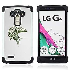 For LG G4 H815 H810 F500L - Alien Big Skull Green Angry Art Drawing Space /[Hybrid 3 en 1 Impacto resistente a prueba de golpes de protecci????n] de silicona y pl????stico Def/ - Super Marley Shop -