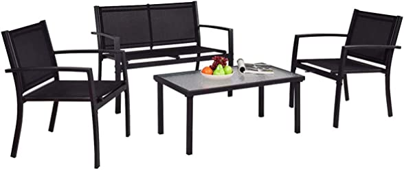 HAPPYGRILL 4 Pieces Patio Furniture Outdoor Garden Patio Table Set