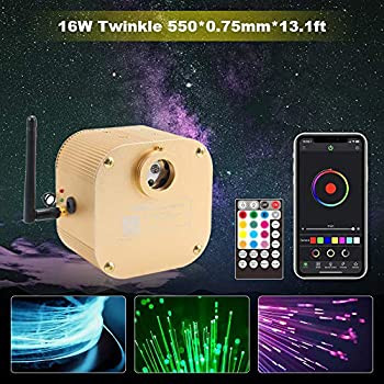 Image of CHINLY Bluetooth Twinkle 16W RGBW APP/Remote LED Fiber Optic Star Ceiling Lights Kit 550pcs 0.75mm 13.1ft Optical Fiber+10 Crystals Home Improvements