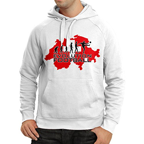 fan products of lepni.me N4477H Hoodie Evolution Football - Switzerland (Large White Multicolor)