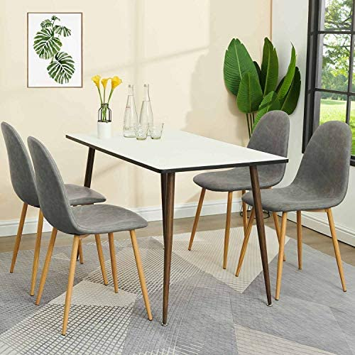 GreenForest Grey PU Leather Dining Chairs Set of 4