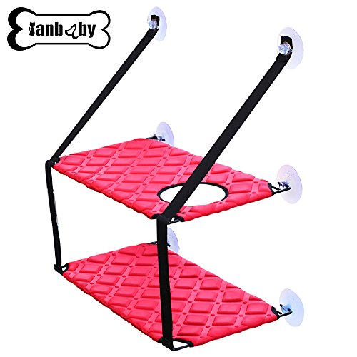 YIAN BABY Pet Products Cat Window Perch Hammock With Upgraded Version 4 Big Suction Cups Holds Up To 35lbs Pets Flexible Durable Pet Cat Seat Bed Perch (Red, Double)