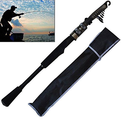 Aolvo Telescopic Fishing Rod, Heavy Duty Carbon Fiber Ultralight Retractable Fishing Pole Rod with Organizer, 6.6 Ft Telescopic Fishing Pole with O-ring Line Guides for Saltwater Freshwater Fishing (Bass 8x10')