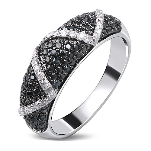 Tiffany Bangle Ring - GDSTAR rings for women Nice Bangle Ring White gold plated Cubic zirconia black and white CZ Rings jewelry 9.0