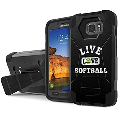 AT&T [Galaxy S7 Active] Combat Case [SlickCandy] [Black/Black] Armor Shell & Impact Resistant [Kick Stand] [Shock Proof] Phone Case - [Live Love SoftBall] for Sales