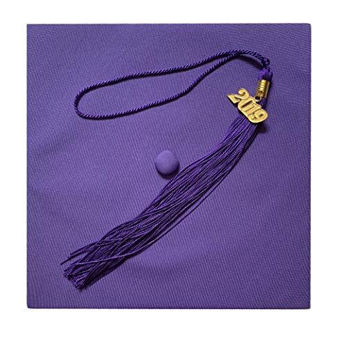 Grad Days Matte Adult Unisex Graduation Cap with Tassel 2017 Year Charm Purple