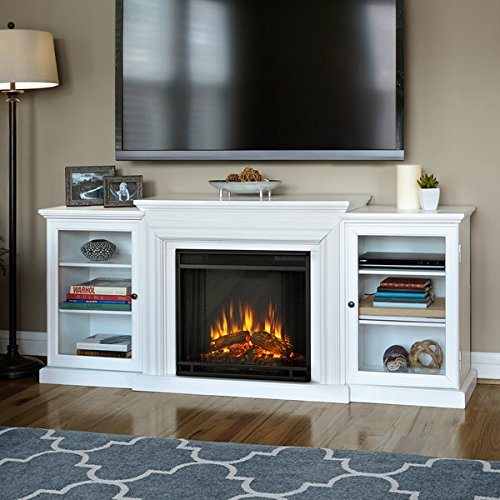 Real Flame Frederick White Entertainment Center Electric 72-inch Fireplace Relaxing Flicker Of Realistic Flames