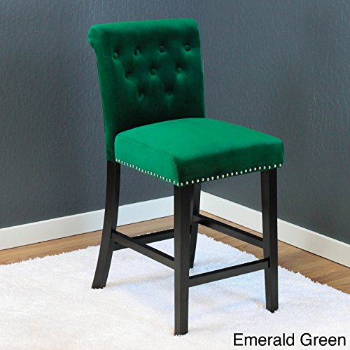 "Monsoon Markelo Tufted Velvet Counter Chairs (Set of 2) - 40.5"" h x 18.5"" w x 22.5"" d Emerald Green"