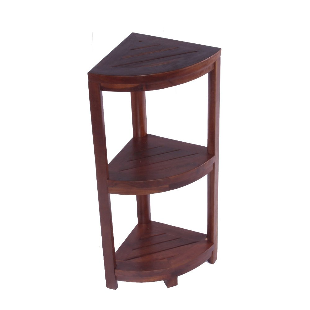 DecoTeak Oasis 3-Tier Teak Corner Shower Shelf by Decoteak