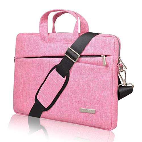 BingGoGo Laptop Bag 15.6 Inch Briefcase Shoulder Bags,Water Repellent Laptop Bag Briefcases Bussiness Carrying,Compatible Ultrabook MacBook 15.6 Inch Laptop Sleeves (15.6 Inch, Pink)