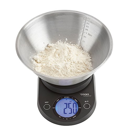 Cooks Professional 5KG Kitchen Scales, Large Digital Display with 2.25 Litre Stainless Steel Mixing Bowl