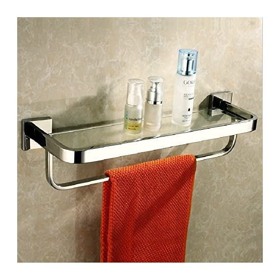 Leyden TM Stainless Steel Bathroom 20-Inch Glass Shelf Wall Mount Cosmetic Holder with Towel Bar, Polished Chrome - Heavy Duty: All metal construction, ensuring quality and longevity, SUS304 Stainless Steel, will not rust, cleans easily with a damp cloth Look: Chrome finish to create a bright, highly reflective, cool grey metallic look Design: Featuring a sleek design and chrome finish, this minimal glass shelf is perfect for tidying up your bathroom while infusing it with lasting style, smooth edges protect your towels from ripping or your hands from injuring, ensure the security and safe - shelves-cabinets, bathroom-fixtures-hardware, bathroom - 51XnOYfJZAL. SS570  -