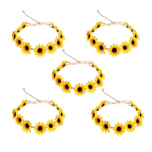 Floral Fall Sunflower Crown Hair Wreath Bridal Headpiece Festivals Hair Band (5 Pack Yellow)