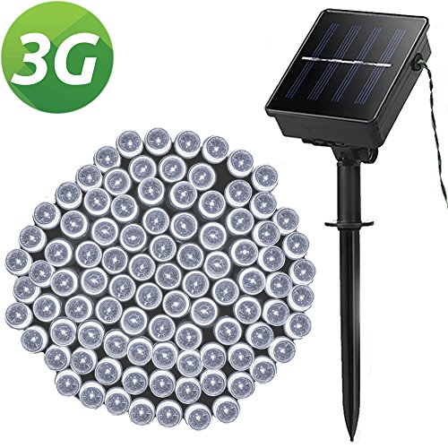 LELLEL 3rd Gen Super Bright Solar Outdoor LED String Lights, for Yard Patio Garden Tree Party Wedding Decoration, Cool White 8 Working Modes