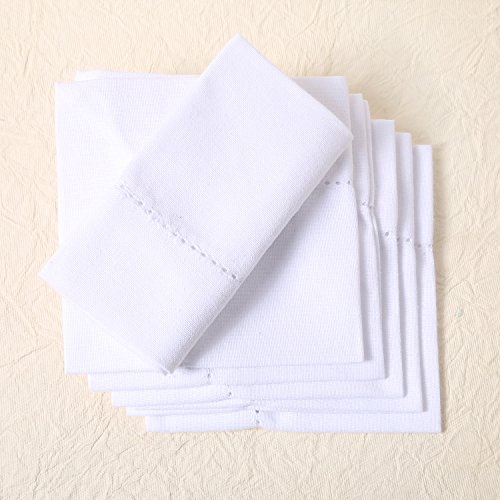 100% CERTIFIED PREMIUM ORGANIC COTTON NAPKINS, 20 x 20 inch Set of 6 White, Cotton DINNER Cloth Napkins for Dinner, Events, Weddings, Tailored with Hemstitched Mitered corners and a generous hem by All Cotton and Linen